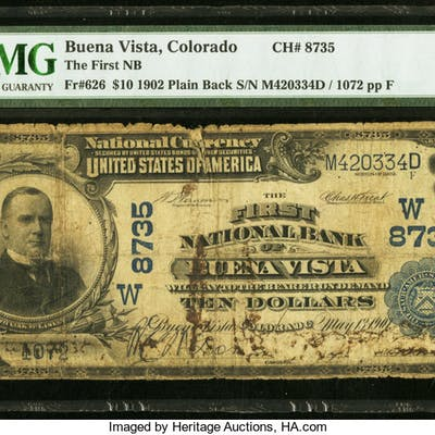 Buena Vista, CO - $10 1902 Plain Back Fr. 626 The First NB Ch. # (W)8735