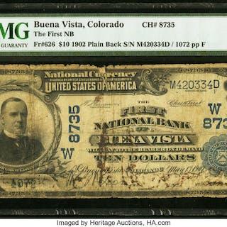 Buena Vista, CO - $10 1902 Plain Back Fr. 626 The First NB Ch. # (W)8735