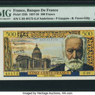 France Banque de France 500 Francs 6.2.1958 Pick 133b PMG Superb Gem