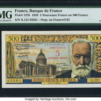 France Banque de France 5 Nouveaux Francs on 500 Francs 12.2.1959