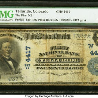 Telluride, CO - $20 1902 Plain Back Fr. 653 The First NB Ch. # (W)4417