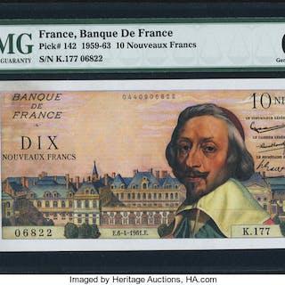 France Banque de France 10 Nouveaux Francs 6.4.1961 Pick 142 PMG Gem