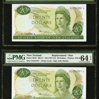 New Zealand Reserve Bank of New Zealand 20 Dollars ND (1977-81) Pick