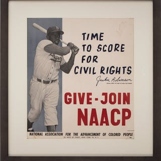 "1957 Jackie Robinson NAACP ""Time to Score for Civil Rights"" Advertising Poster."