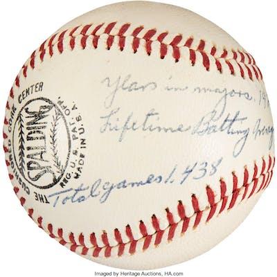 """1960's Freddie Lindstrom Single Signed """"Stat"""" Baseball, PSA/DNA NM-MT 8."""