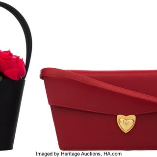 Set of Two: Red Escada Clutch & Lulu Guinness Flower Bag Condition: