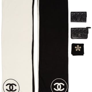 Chanel Set of Five: Black Compact Wallets, Star Brooch & Black and