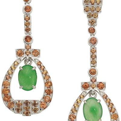Jadeite Jade, Orange Sapphire, White Gold Earrings ...