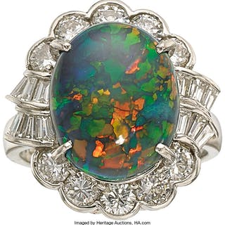 Black Opal, Diamond, Platinum Ring ...