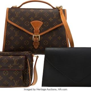 Louis Vuitton Set of Three: Brown Monogram Bags & Black Clutch Condition:
