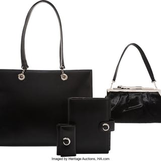 Cartier Set of Four: Black Ponyhair Clutch, Black Leather Tote Bag