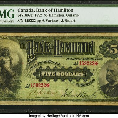 Canada Hamilton, ON- Bank of Hamilton $5 1.6.1892 Ch.# 345-16-02a