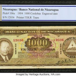 Nicaragua Banco Nacional de Nicaragua 1000 Cordobas 1954 Pick 106a