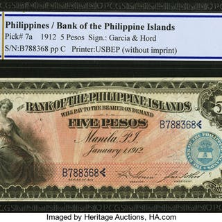Philippines Bank of the Philippine Islands 5 Pesos 1912 Pick 7a PCGS