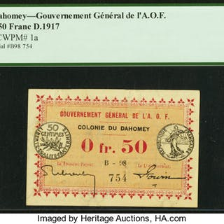 Dahomey Gouvernment General de l'Afrique Occidentale Francaise 0.50