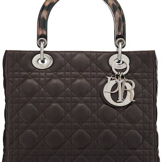 Christian Dior Brown Cannage Quilted Lambskin Leather Medium Lady