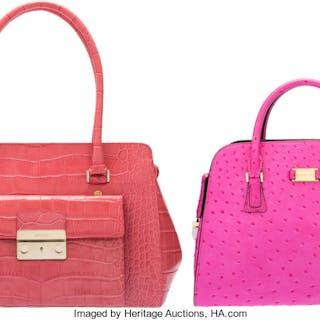 Set of Two: Pink Ostrich Michael Kors & Pink Crocodile Escada Bags