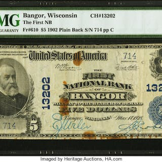 Bangor, WI - $5 1902 Plain Back Fr. 610 The First NB Ch. # 13202 PMG