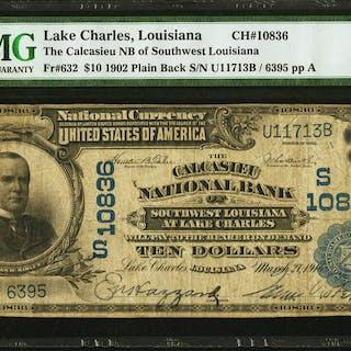 Lake Charles, LA - $10 1902 Plain Back Fr. 632 The Calcasieu NB of