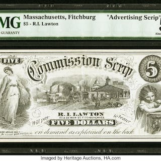 Fitchburg, MA- R.L. Lawton $5 Commission Scrip ND (ca. 1873) PMG About