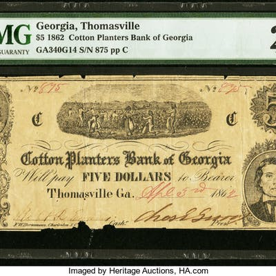 Thomasville, GA- Cotton Planters Bank of Georgia $5 Apr. 3, 1862 G14