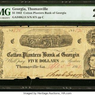 Thomasville, GA- Cotton Planters Bank of Georgia $5 Apr. 3, 1862 G14