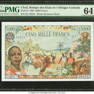 Chad Banque Des Etats De L'Afrique Centrale 5000 Francs 1.1.1980 Pick