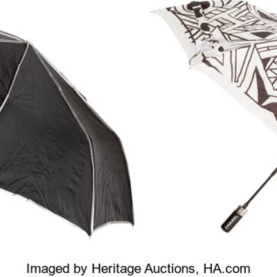 """Chanel Set of Two: Black & White Umbrellas Condition: 1 12"""" Length"""