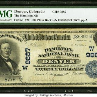 Denver, CO - $20 1902 Plain Back Fr. 653 The Hamilton NB Ch. # (W)9887
