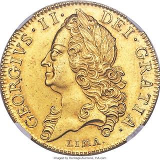 George II gold 5 Guineas 1746-LIMA MS61 NGC,...