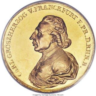 Rhenish Confederation. Karl Theodor von Dahlberg gold Specimen Medal