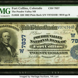 Fort Collins, CO - $20 1902 Plain Back Fr. 650 The Poudre Valley NB