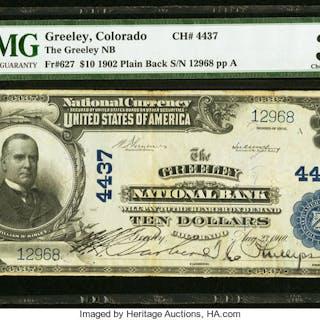 Greeley, CO - $10 1902 Plain Back Fr. 627 The Greeley NB Ch. # 4437