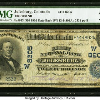 Julesburg, CO - $20 1902 Date Back Fr. 643 The First NB Ch. # (W)8205