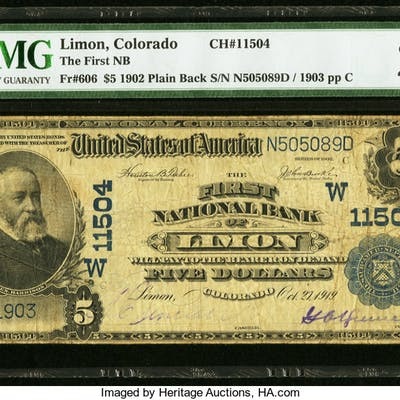 Limon, CO - $5 1902 Plain Back Fr. 606 The First NB Ch. # (W)11504