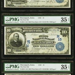 Davenport, IA - $10 1902 Plain Back Fr. 624 The First NB Ch. # (M)15
