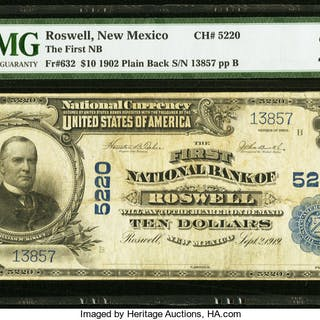 Roswell, NM - $10 1902 Plain Back Fr. 632 The First NB Ch. # 5220