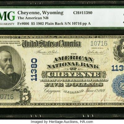Cheyenne, WY - $5 1902 Plain Back Fr. 606 The American NB Ch. # 11380