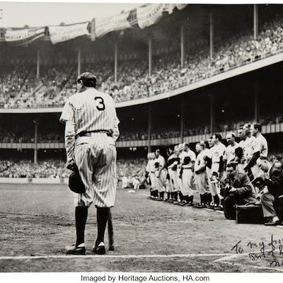 """1948 """"The Babe Bows Out"""" Pulitzer Prize-Winning Original Large Photograph"""