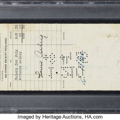 1925 Lou Gehrig Signed New York Yankees Rookie Payroll Check, PSA/DNA Mint 9.