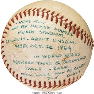 1964 Mickey Mantle World Series Home Run #17 Baseball, MEARS Authentic.