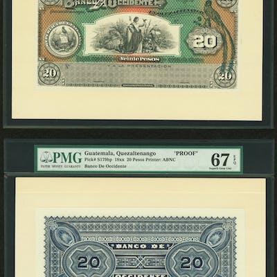 Guatemala Banco de Occidente 20 Pesos ND (18xx) Picks S179fp and S179bp