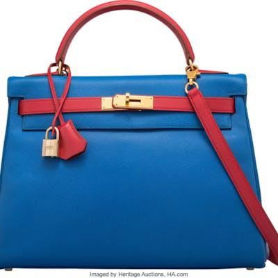 Hermès 32cm Blue France & Rouge Vif Epsom Leather Sellier Kelly Bag