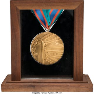 1988 Calgary Winter Olympics Salesman's Sample Gold Medal.