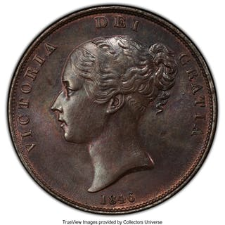 Victoria Penny 1846 MS63+ Brown PCGS,...