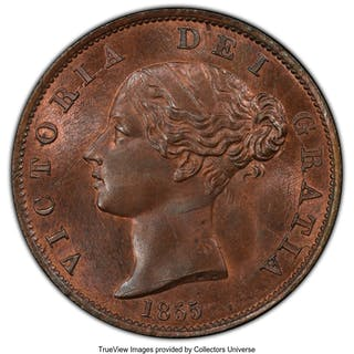 Victoria 1/2 Penny 1855 MS65 Brown PCGS,...