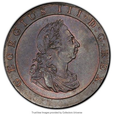 George III Penny 1797-SOHO MS63 Brown PCGS,...