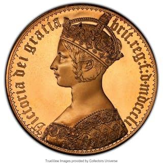 "Victoria bronze Proof INA Retro Issue ""Gothic"" Crown 1851-Dated PR69"