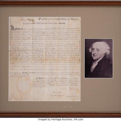 1799 John Adams Signed Land Grant.