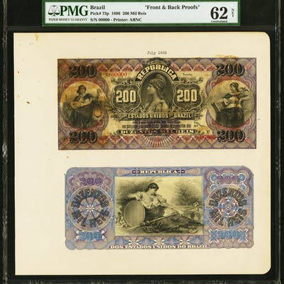 Brazil Thesouro Nacional 200 Mil Reis 1896 Pick 73p Front and Back